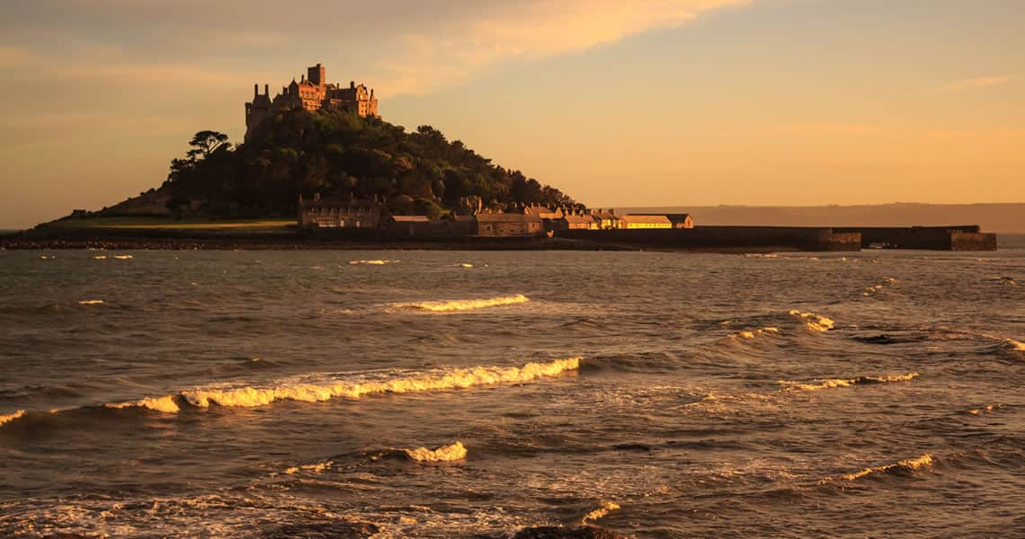 St Michaels Mount as the sun sets