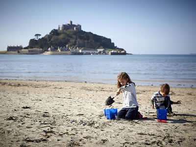 Children playng on Marazion Beach
